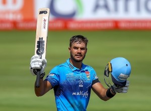 PRETORIA, SOUTH AFRICA - MARCH 31: Aiden Markram of the Multiply Titans raises his bat on scoring his hundred during the Momentum One-Day Cup final match between Multiply Titans and Hollywoodbets Dolphins at SuperSport Park on March 31, 2019 in Pretoria, South Africa. (Photo by Gordon Arons/Gallo Images)